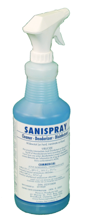blue disinfectant spray