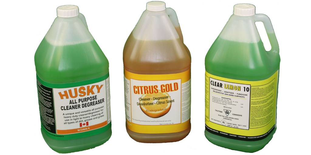 3 cleaning chemicals in 4L jugs