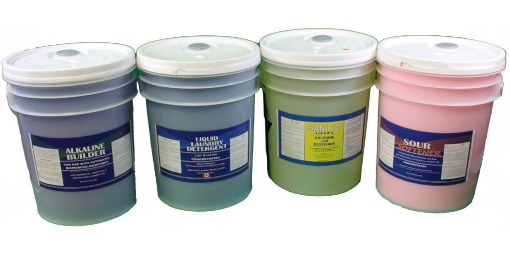 4 different industrial laundry chemicals