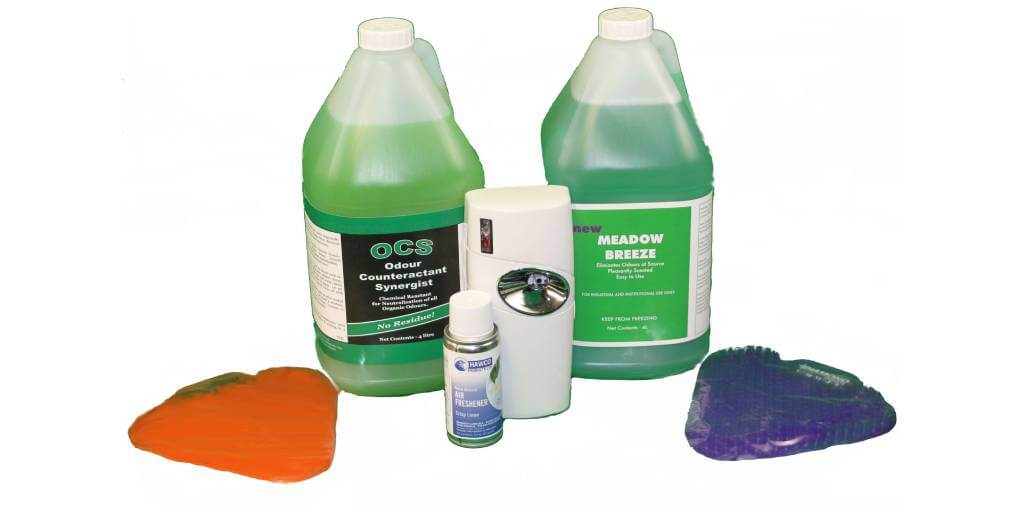 green odour control chemical with urinal screens and air freshener