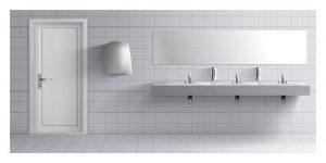 white spotless public bathroom